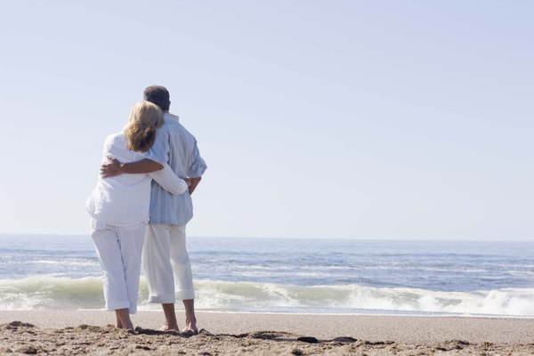 Couple embracing on beach