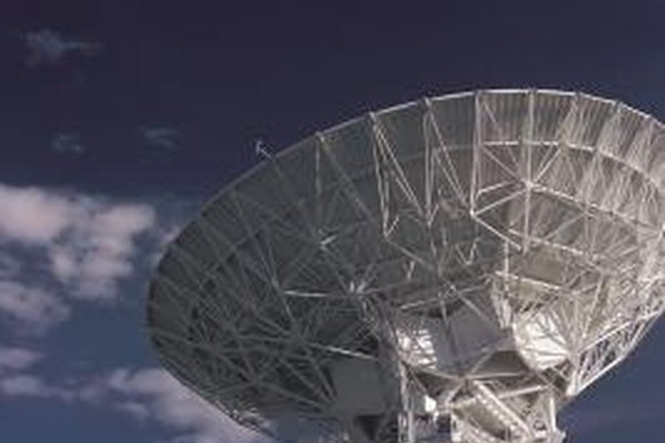 Satellite television is transmitted through powerful satellite antennas.
