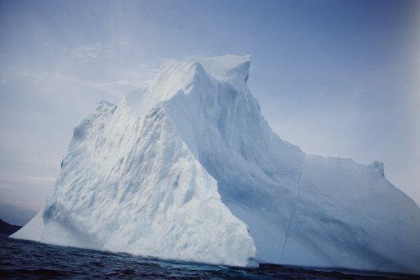 Glacier floating in ocean