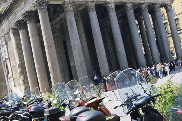 Motor scooters parked at Pantheon, Rome, Italy