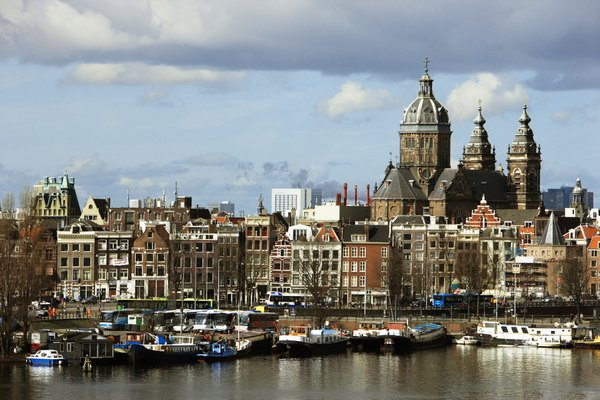 Holland, Amsterdam, St Nicholas church and skyline