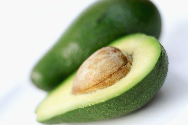 close-up of a sliced avocado on a plate