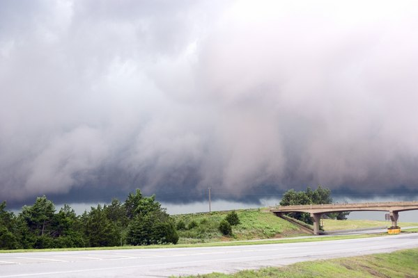 Storm clouds along highway