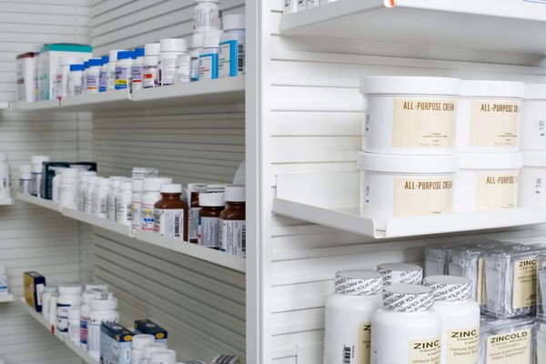 Shelves with medications in pharmacy