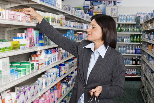 Customer looking at medications