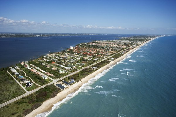 Aerial view over Palm Beach, Florida