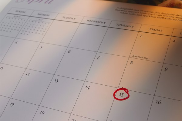 Tax day circled on calendar