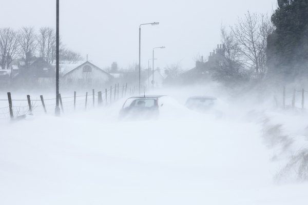 Cars stuck in a blizzard