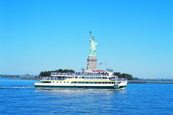 Staten Island with passenger ferry in foreground