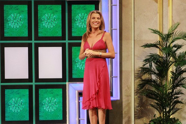 "Vanna White greets contestants on ""Wheel of Fortune."""