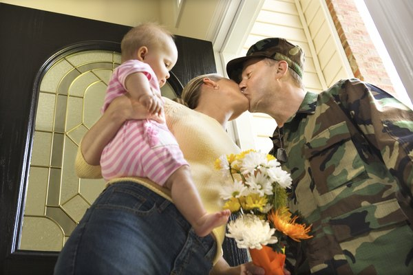 Soldier kissing wife
