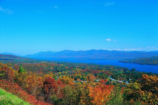 Lake George and fall colours, Adirondack Mountains, New York, USA