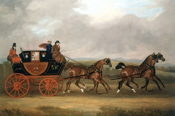 Painting of horse drawn carriage