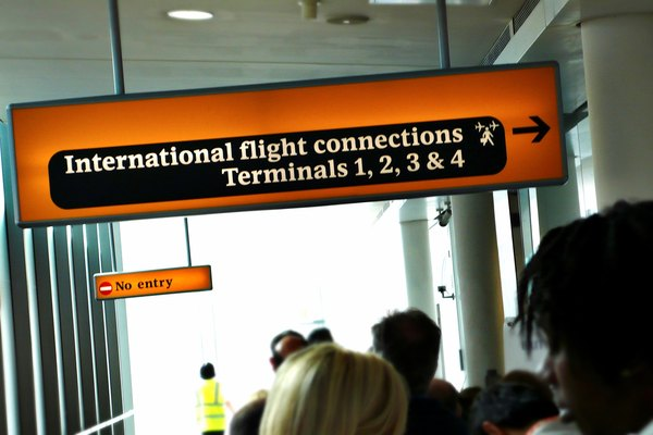 Airport sign for international flight connections.
