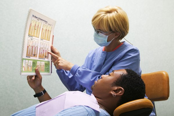 Dental hygienist with patient