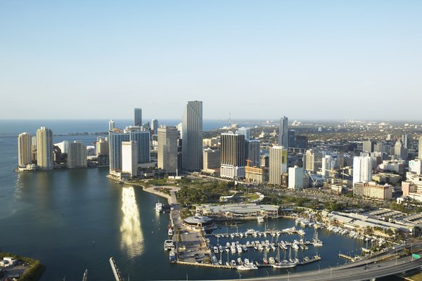 USA, Florida, Miami, downtown, aerial view