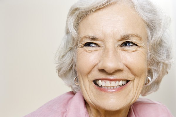 Portrait of elderly woman grinning