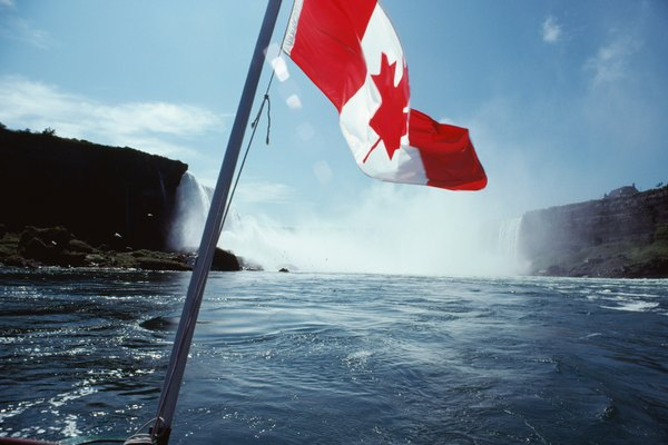 Canadian national flag by Niagara Falls, Canada