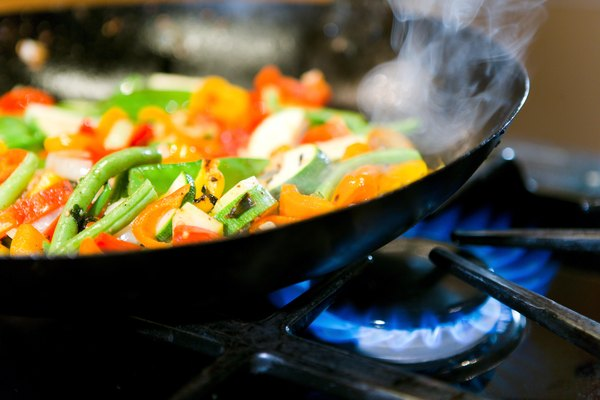 Vegetables cooking in skillet