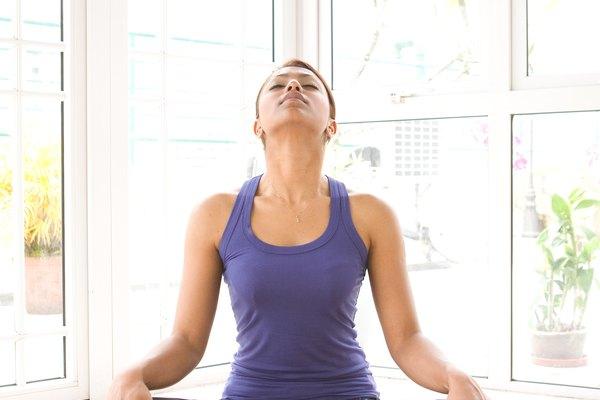female doing neck stretching exercise