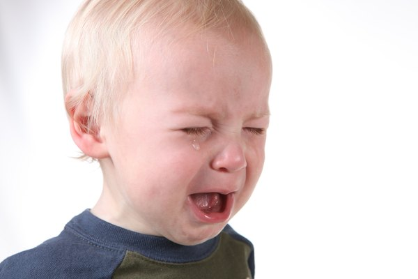Crying Frustrated Little Boy on White