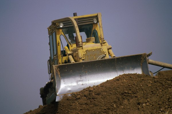 Bulldozer pushing dirt