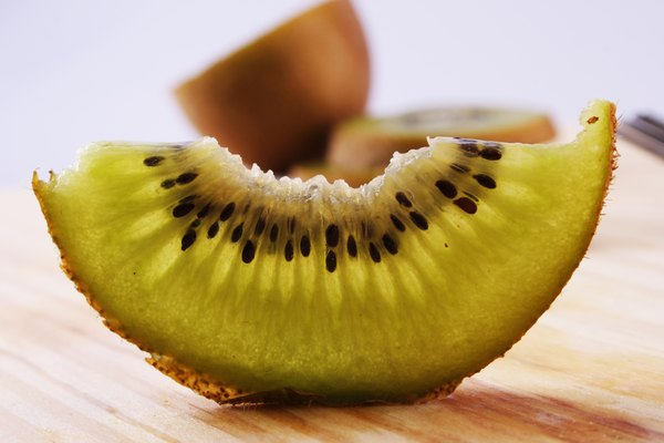 Close up of a slice of kiwifruit