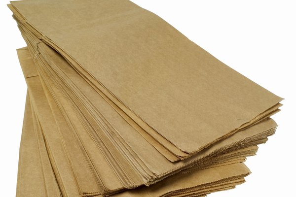 Close up of a stack of brown paper bags