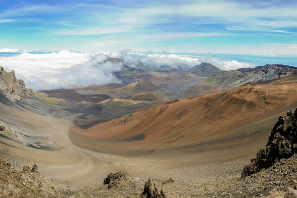 Panorama of Haleakala crater, Maui, Hawaii