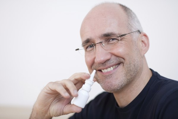 Mature Man With Nasal Spray