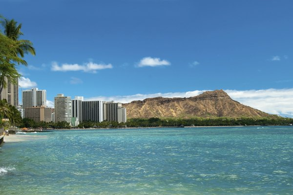 Waikiki beach with azure water in Hawaii