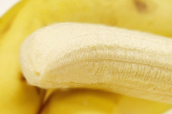 Close-up of a peeled banana