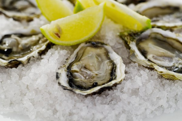 close-up of oysters served on crushed ice