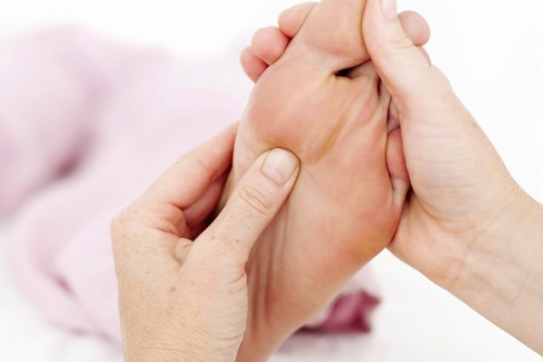 close up of a masseuses' hands massaging a foot