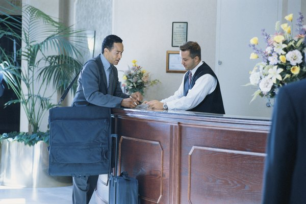 Man at concierge's desk