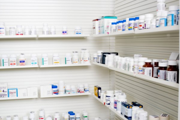Shelves of medication in pharmacy