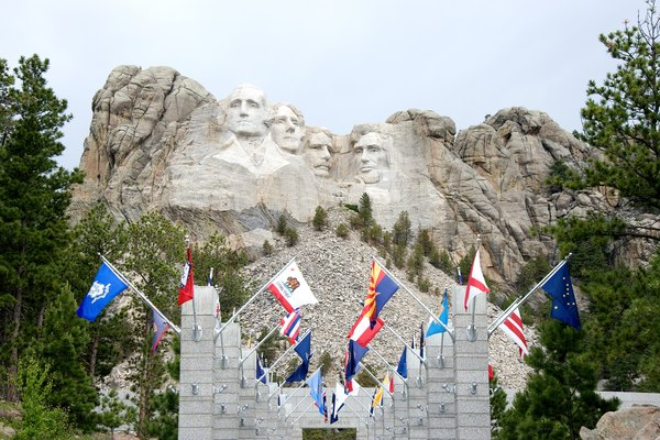 Walkway with state flags, Mount Rushmore, South Dakota