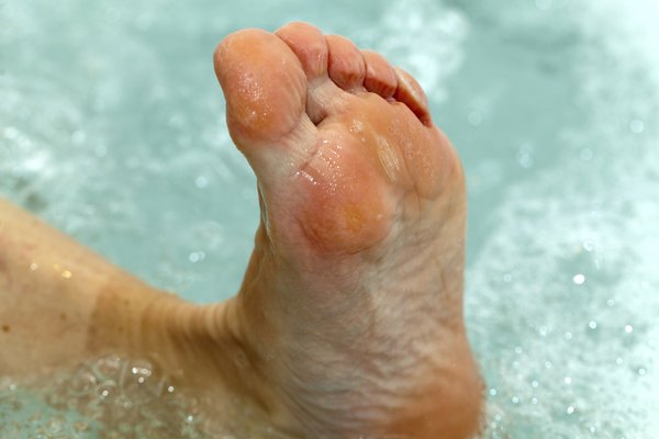 water massage of tired feet