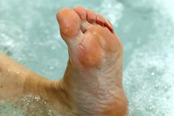 water massage of tired feet