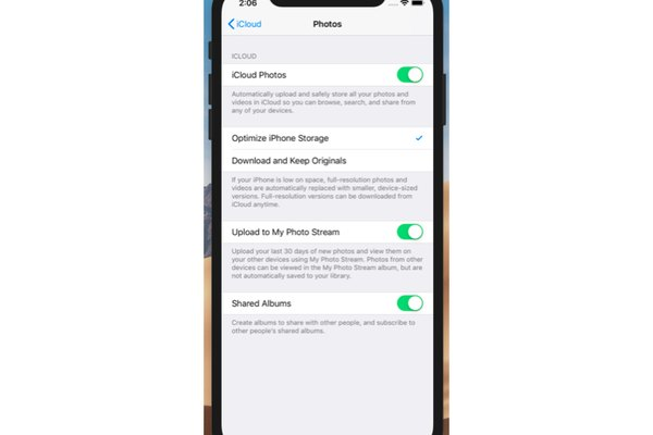 iPhone photos page after tapping preferences