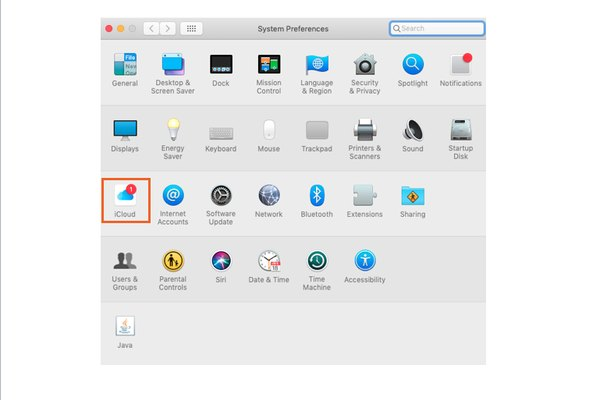 Apple Mac system preferences page