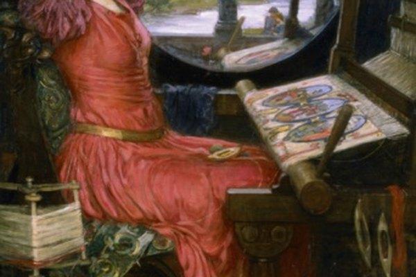 La Dama de Shallot tejiendo en un telar en una pintura de John W. Waterhouse.