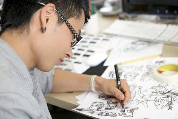 Un ilustrador trabajando en una mesa de dibujo con iluminación superior adecuada.
