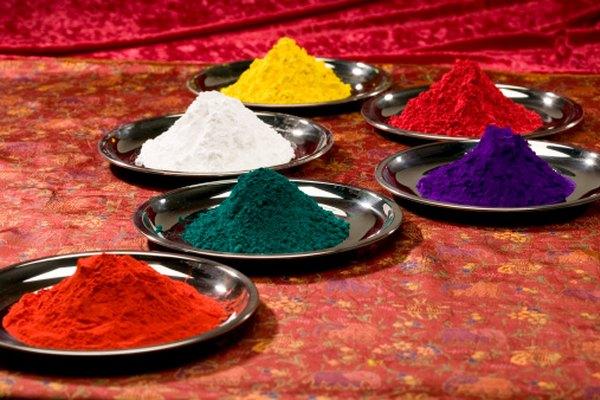 Los pigmentos antes de la mezcla con una base de pintura.