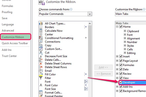 Select Customize Ribbon and tick the Developer check box.