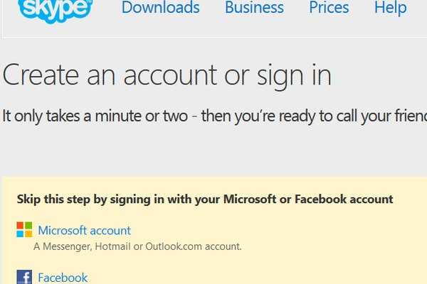 Skype also supports registration with a Facebook account.