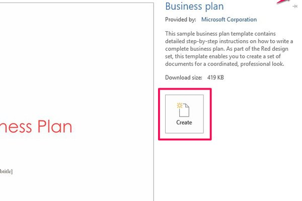 Select Create to open, edit and save the template in Word.
