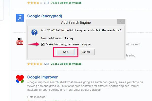 Make a search engine the current default in Firefox