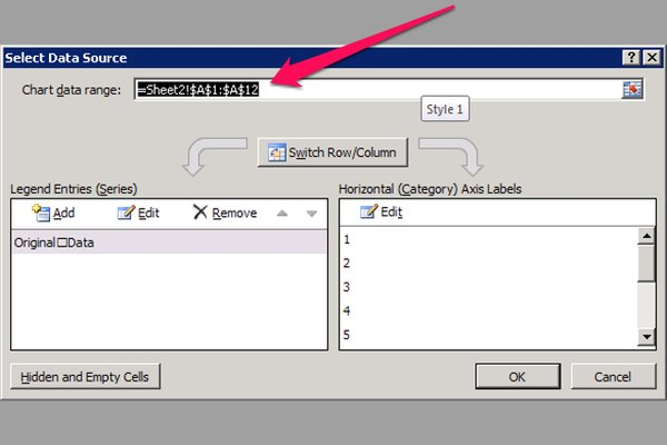 The Chart data range field in the Select Data Source dialog initially displays the range