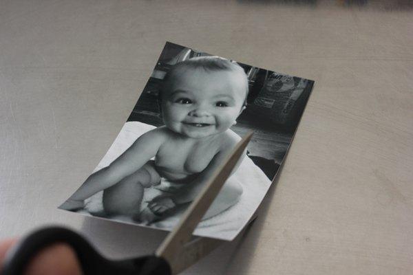 Corta las fotografías para que encajen en la maceta.